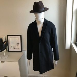 NWT Forever21 men's black top coat in size medium